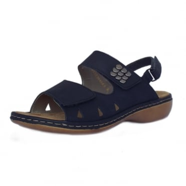 Neptune Women's Navy Leather Adjustable Sandals