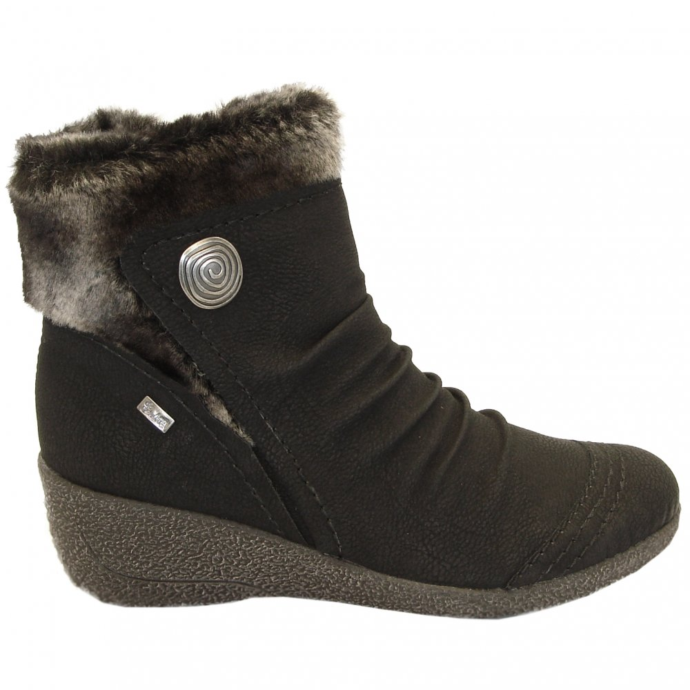 rieker noomi mombasa fur trim ankle boots weather proof