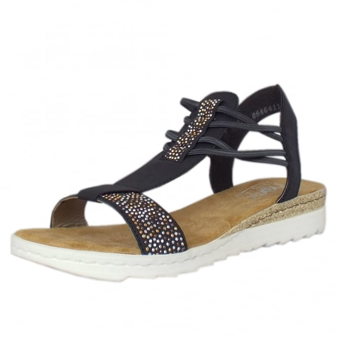 Rieker Orchid Casual Fashion Low Wedge Sandals in Navy