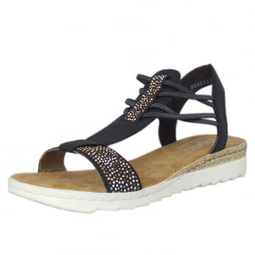 Orchid Casual Fashion Low Wedge Sandals in Navy