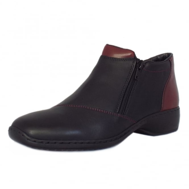Rieker Packwood Comfortable Roomy Fit Ankle Boots in Black