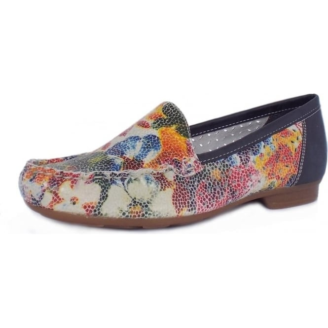 Rieker Phoebe Breathable Loafers in Multicolour Floral Leather