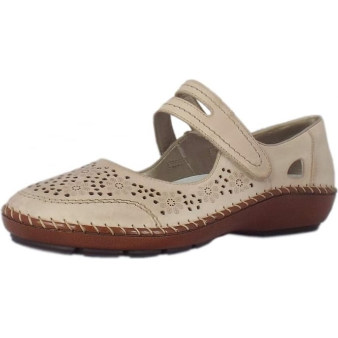 Rieker Pollus Casual Mary-Jane Ballet Pump in Beige