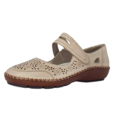 Pollus Casual Mary-Jane Ballet Pump in Beige