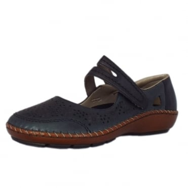 Pollus Casual Mary-Jane Ballet Pump in Navy