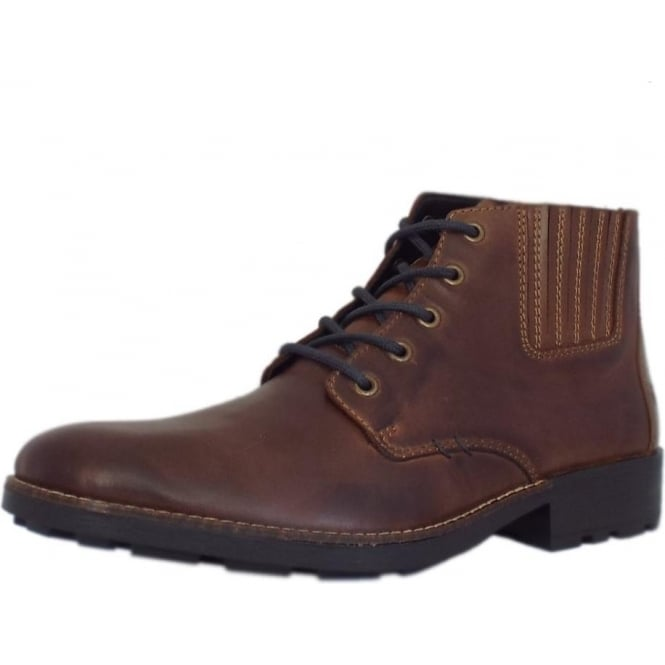 Men's Lace-up Winter Boots in Brown Leather