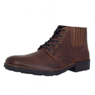 Sexton Men's Casual Lace Up Boots in Brown Leather