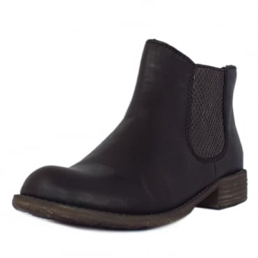 Rieker Skyfall Fleece Lined Chelsea Boots in Black with Snake-Print Detail