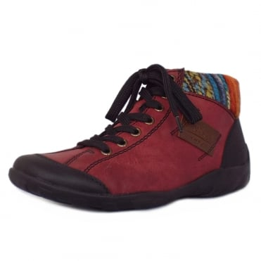 Sprinter Comfortable High Top Lace Up Trainers in Red