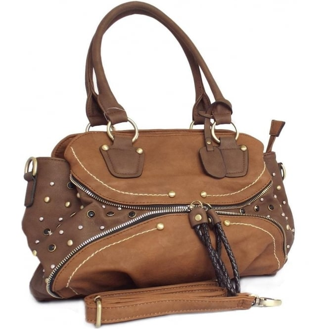 Stacey Womens Fashion Handbag in Tan Brown