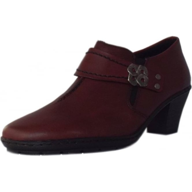 Rieker Stanning Casual Low Heel High Top Shoes in Dark Red.