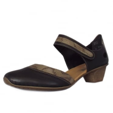 Rieker Sutton Low Heel Ankle Strap Summer Shoes in Black