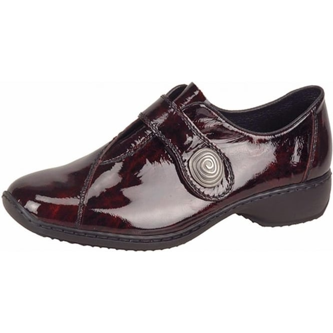 Rieker Swanky Casual Velcro Strap Shoes In Vino Red Patent Leather
