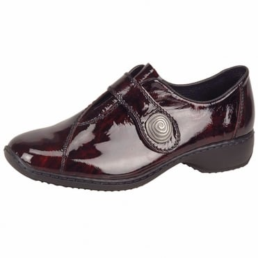 Swanky Casual Velcro Strap Shoes In Vino Red Patent Leather