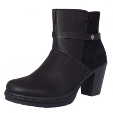 Tammy Modern Mid Heel Ankle Boots in Black