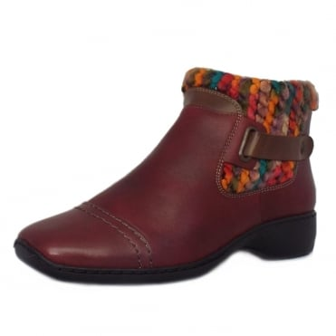 Rieker Tasmania Fleece Lined Short Boots in Burgundy