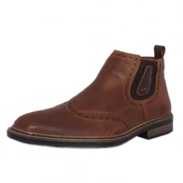 Texas Men's Winter Pull On Wide Fit Brogue Boots in Tabak