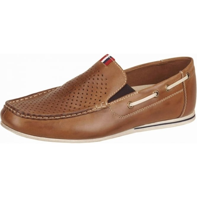 Toto Mens Comfortable Summer Loafers in Tan Leather