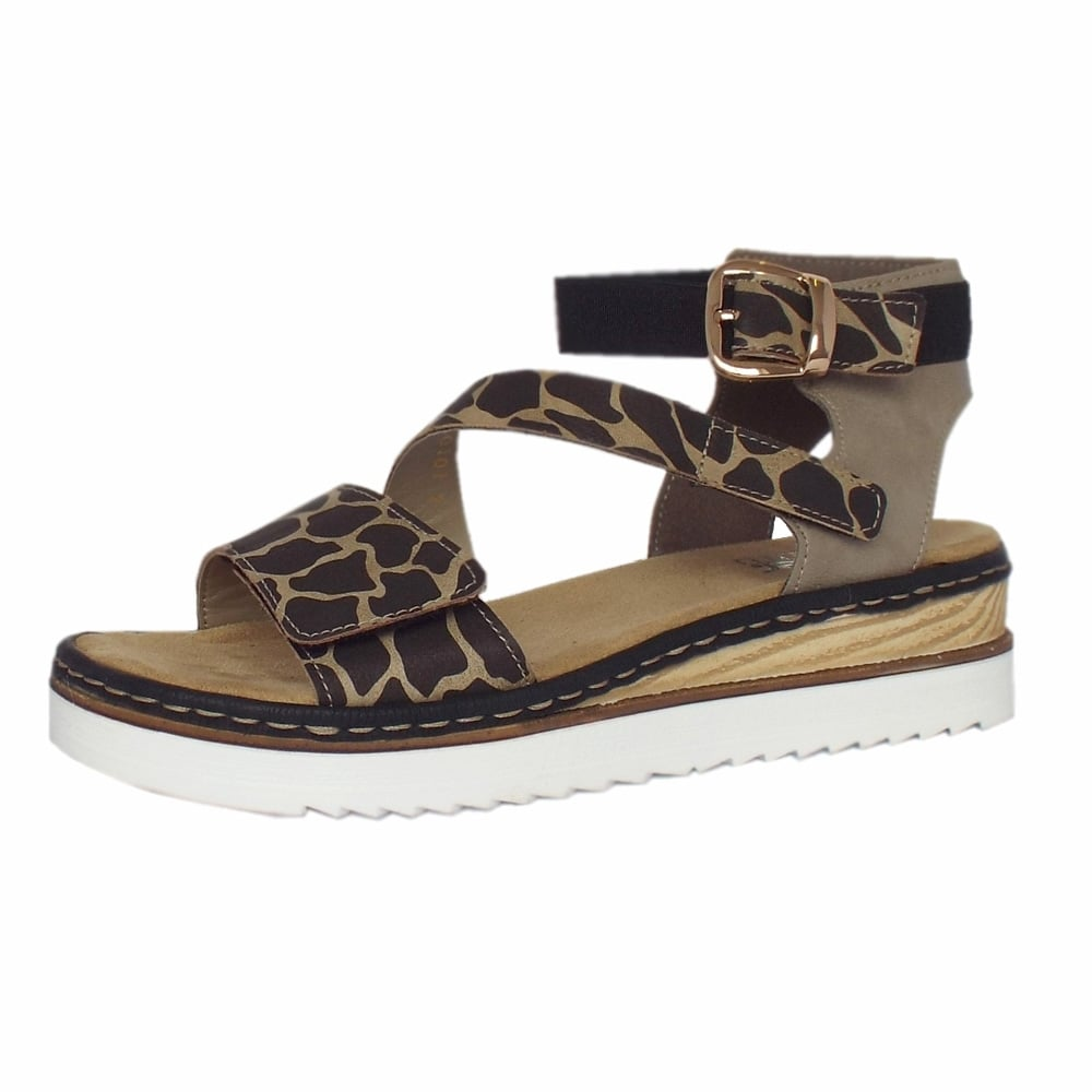 Popular Rieker Sandal  Ulusaba Ladies Animal Print Adjustable Sandal  Mozimo