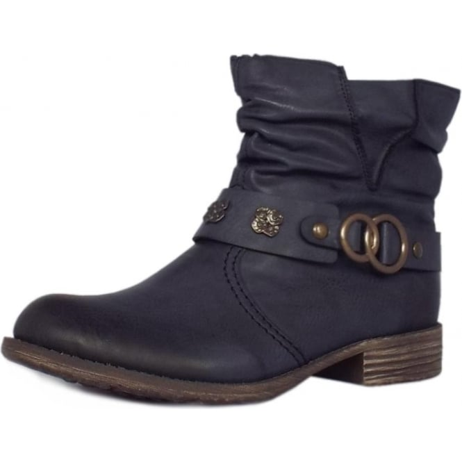 Rieker Wilbraham Fashion Fleece Lined Short Boots in Navy