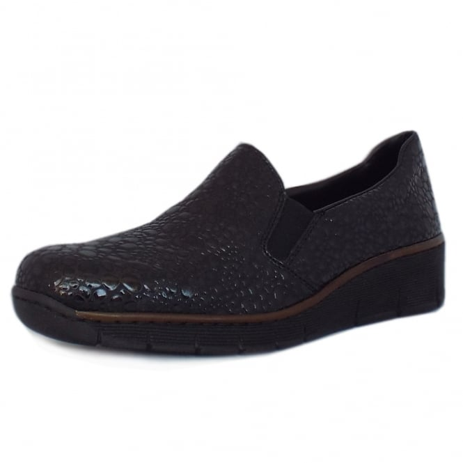 Rieker Wilmer Casual Slip On Shoes in Black Croc