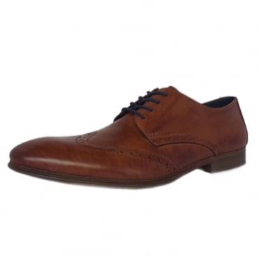 Wolf Men's Smart Casual Lace Up Shoes in Brandy