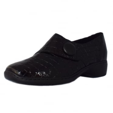 Wonder Casual Velcro Shoes in Black Croc