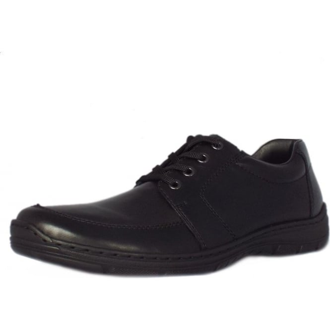 Rieker Wyatt Mens Smart-Casual Lace-Up Shoe in Black Leather