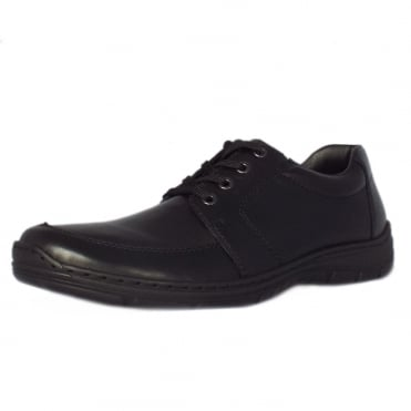Wyatt Mens Smart-Casual Lace-Up Shoe in Black Leather