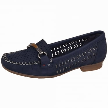 Rieker Yasmin Smart Casual Loafers in Navy Suede