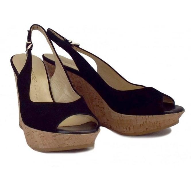 60850f4973d Peter Kaiser Riga Ladies Wedge Sandals in Black Suede
