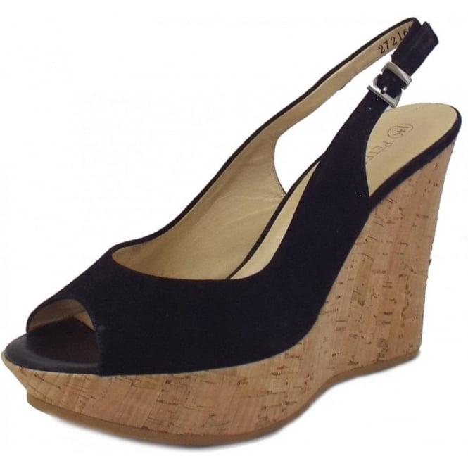 9f96a4003cb53 Riga Ladies Wedge Sandals in Black Suede
