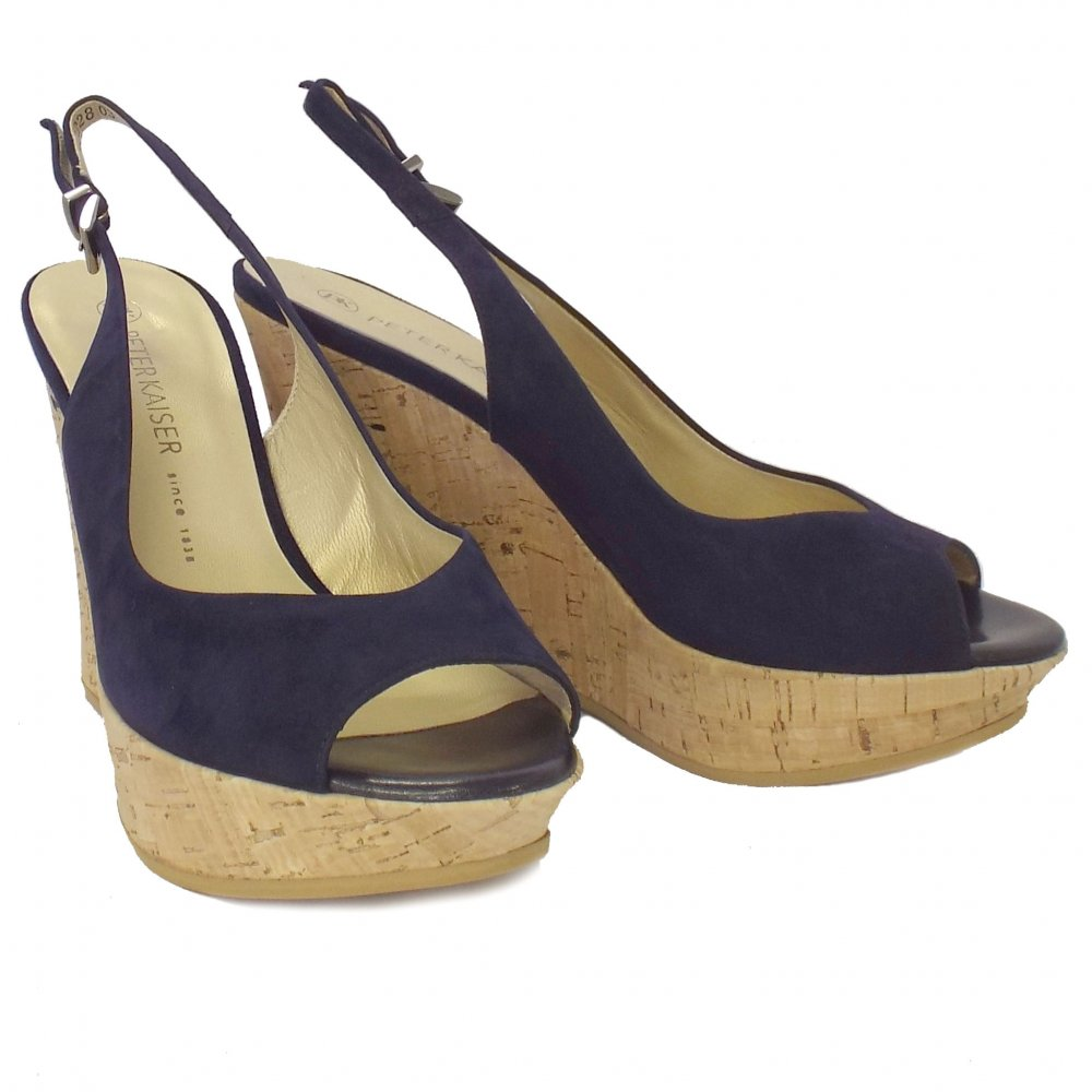 kaiser riga navy suede evening wedge shoes