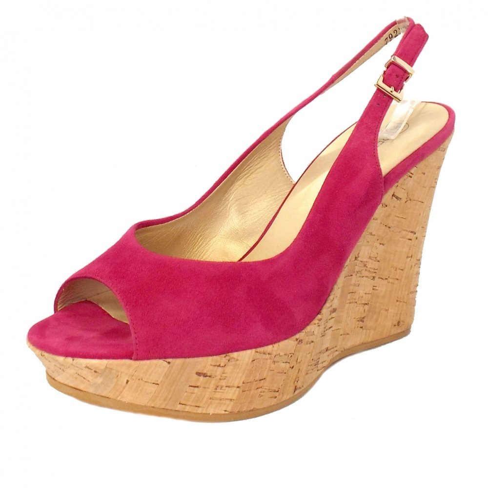 kaiser riga pink suede evening wedge shoes