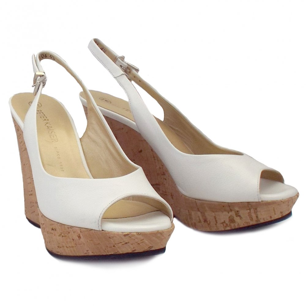 kaiser riga white leather evening wedge