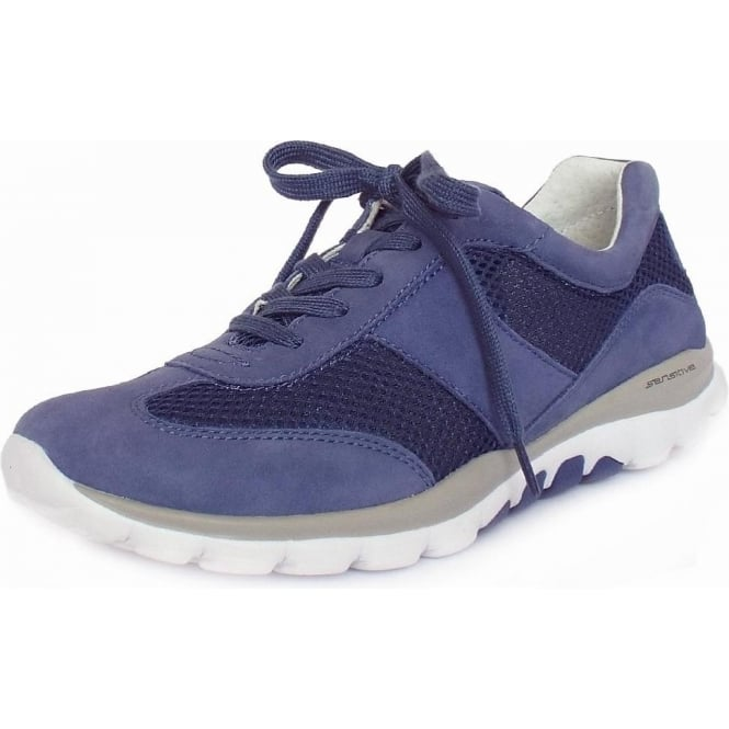 a470f0bf8a0cd Gabor Rolling Soft | Helen | Modern Lace-up Sneakers in Blue | Mozimo