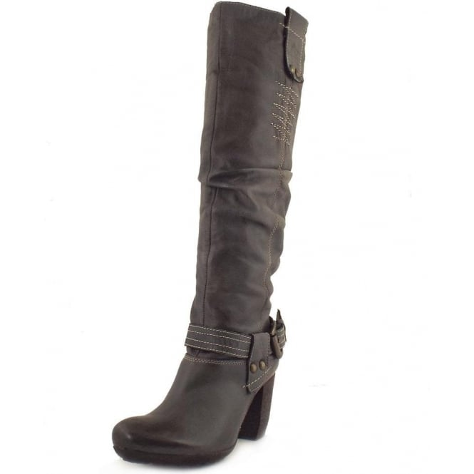 fashionable patterns great discount sale big selection Manas Roma Italian leather knee high fashion winter boots in grey