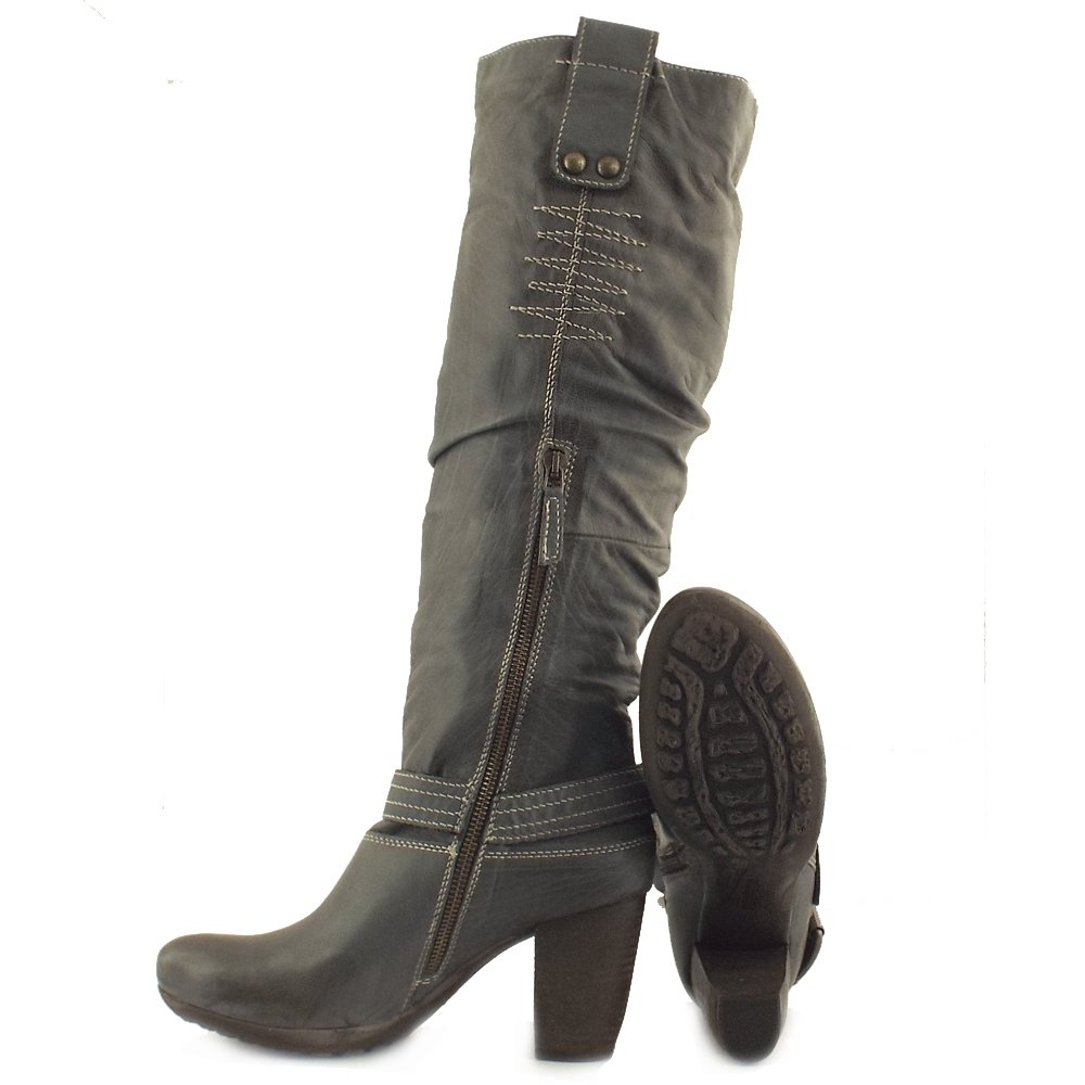 Manas Design Roma Ladies Grey Leather Long Boots Mozimo