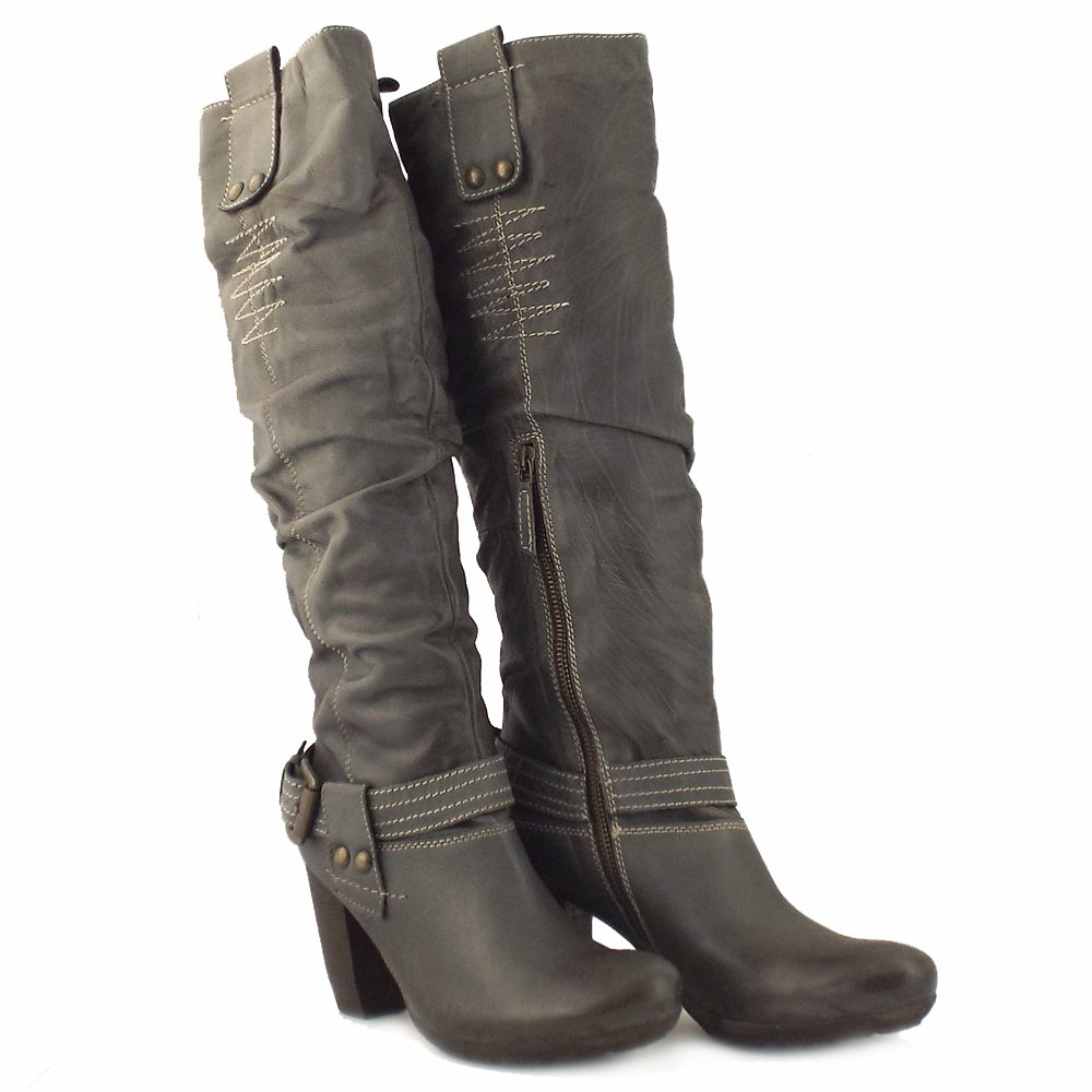 Manas Design Roma Ladies Grey Leather Long Boots Mozimo