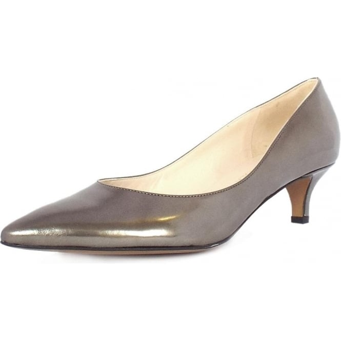 Peter Kaiser Rona | Dressy Kitten Heel Court Shoes in Metallic Leather