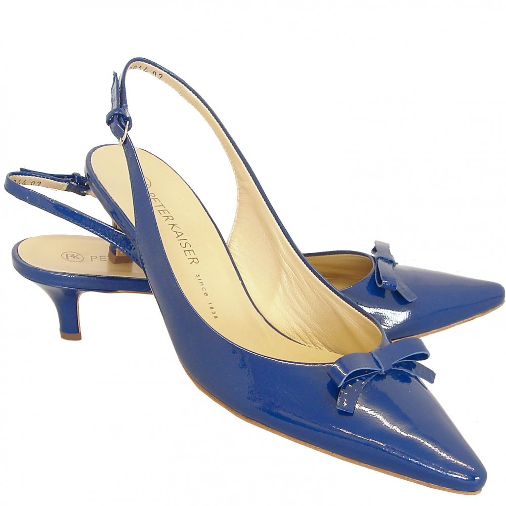 Blue Patent Slingback Shoes