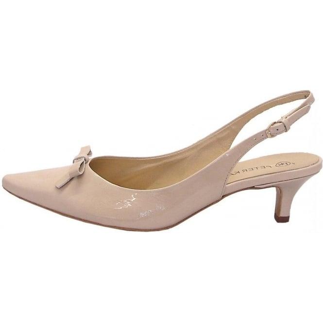 Peter Kaiser Rosette   Low heel slingbacks in cream patent