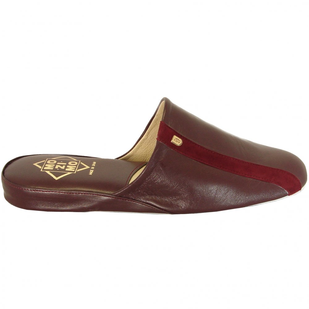 Relax Mozimo Ross Mens Full Leather Slippers In Wine Colour