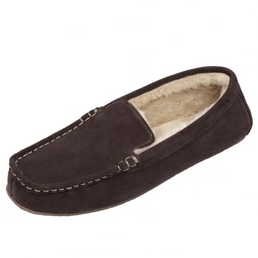 Cobi Men's Luxury Moccasin Suede Slippers in Chocolate
