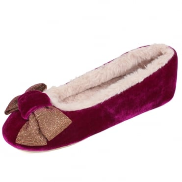 Polly Ballerina Luxury Velvet Slippers in Pink
