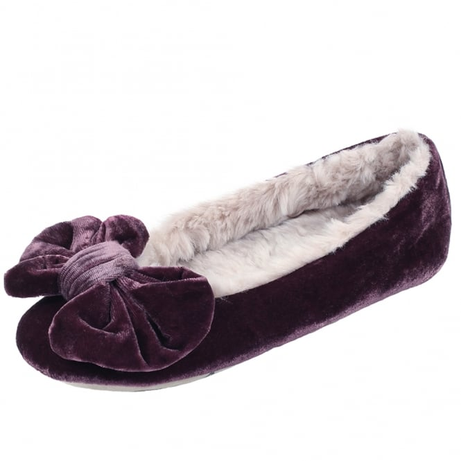 Ruby + Ed Polly Ballerina Luxury Velvet Slippers in Plum