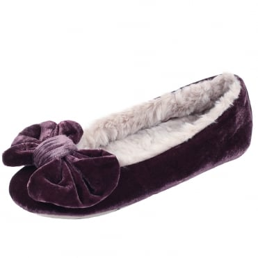Polly Ballerina Luxury Velvet Slippers in Plum