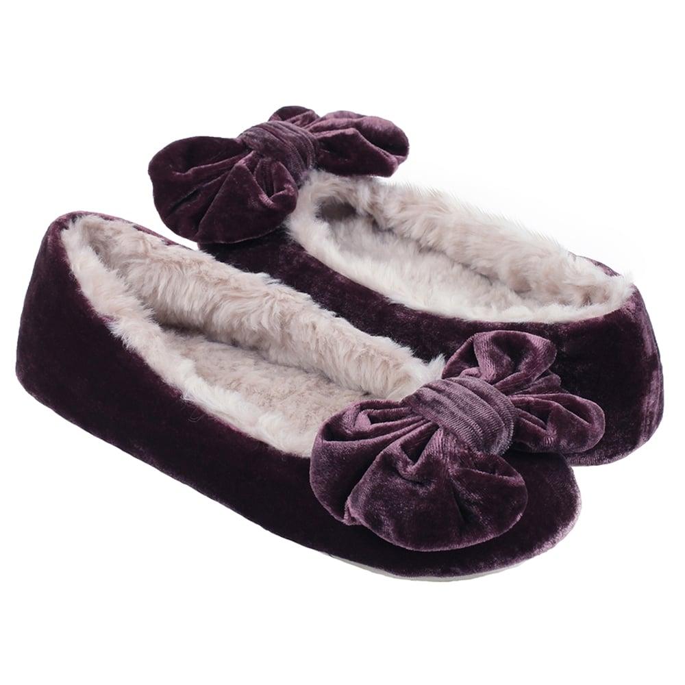 3b3d7090c7c Polly Ballerina Luxury Velvet Slippers in Plum