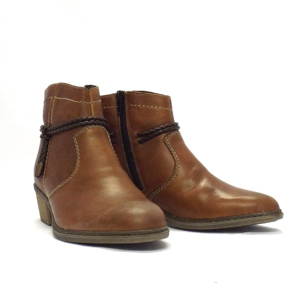rieker boot rugby brown leather ankle boot