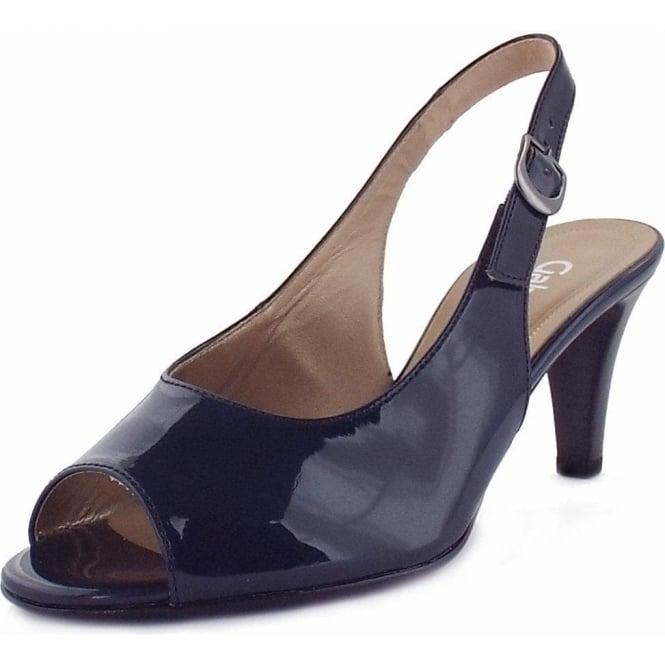Gabor Rumble   Womens Smart Navy Patent Sandal   Sling Back   Mid Heel 5e35771c57